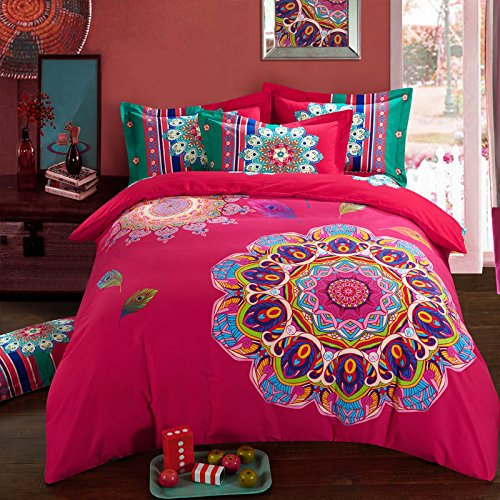 COMFORTEX Boho Bedding Set Queen Size Bohemian Duvet Cover Sets 4Pcs Thick Sanded Cotton Excellent Feeling Soft