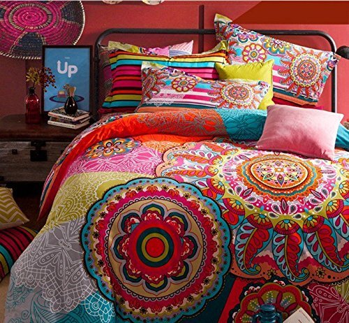 Boho Chic Bedding, COMFORTEX Boho Bedding Set Queen Size Bohemian Duvet Cover Sets With Flat Sheet 4-Piece 100% Thick Sanded Cotton Excellent Feeling Soft and Comfortable Bohemian Comfy Bedding Girl Bedding