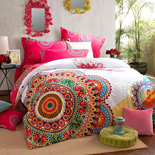 Boho Chic Bedding, COMFORTEX Boho Bedding Set Queen Size Bohemian Duvet Cover Sets With Flat Sheet 4-Piece 100% Thick Sanded Cotton Excellent Feeling Soft Girl Bedding