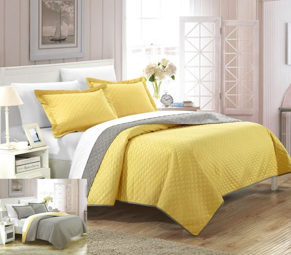 Chic Home 3 Piece Teresa Reversible Color Block Modern Quilt Set, Yellow Queen Bedding