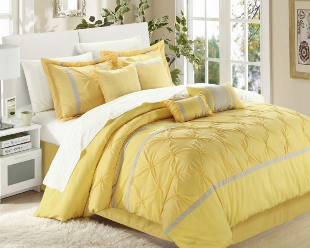 Chic Home Vermont 8-Piece Comforter Set, Queen Yellow Grey Bedding