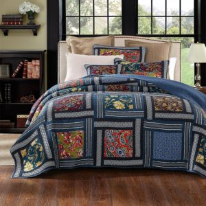 DaDa Bedding Bohemian Midnight Ocean Blue Sea Reversible Real Patchwork Quilted Bedspread Set - Dark Navy Floral Multi-Color Print - King - 3-Piece