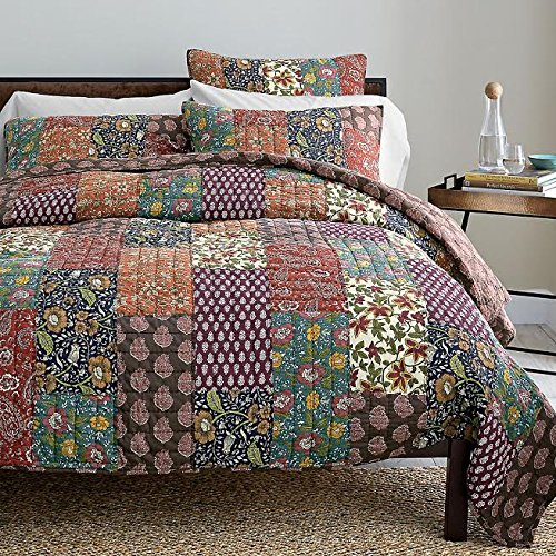 DaDa Bedding Collection Reversible Bohemian Real Patchwork Cotton Floral Masterpiece Floral Quilt Bedspread Set, Multi-Colored Dark Purple, King