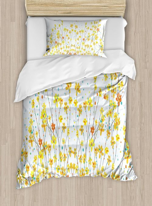 Daffodil Duvet Cover Set by Ambesonne, Floral Banner Daffodils Botanical Blooming Spring Gardening Flourishing Design, Twin XL, White Yellow Floral Bedding