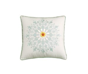 Echo Jaipur 18 by 18-Inch Polyester Fill Pillow, White