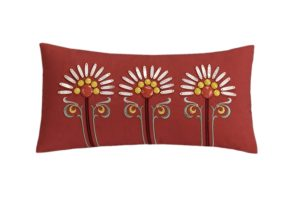 Echo Jaipur 9 by 18-Inch Polyester Fill Pillow, Red