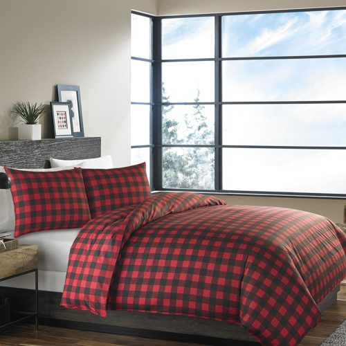 Eddie Bauer 210707 Mountain Plaid Duvet Cover Set, Full-Queen, Scarlet Red