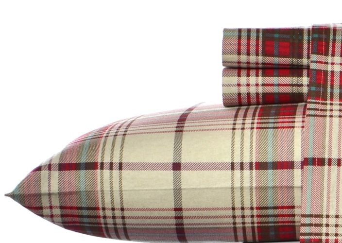 Eddie Bauer Mont Lake Plaid Cotton Warm Flannel Sheet Set, Twin
