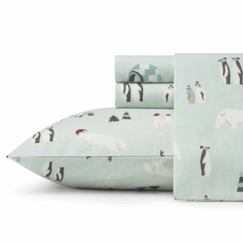 Eddie Bauer Winter Gathering King Flannel Sheet Sets, King, Green