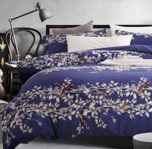Eikei Botanical Garden Duvet Cover Washed Brushed 100-percent Cotton Bedding Set Asian Chinoiserie Print Birds Floral Pattern (Queen, Navy Blue)