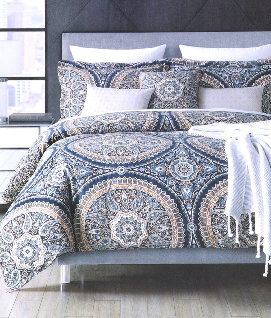 Envogue Bohemian Paisley Large Magical Indian Tapestry Mosaik Medallions Print Duvet Cover 3pc Set Navy Bleu Grey Rust Orange Gray Teal Boho Chic Bedding (Queen, Navy)