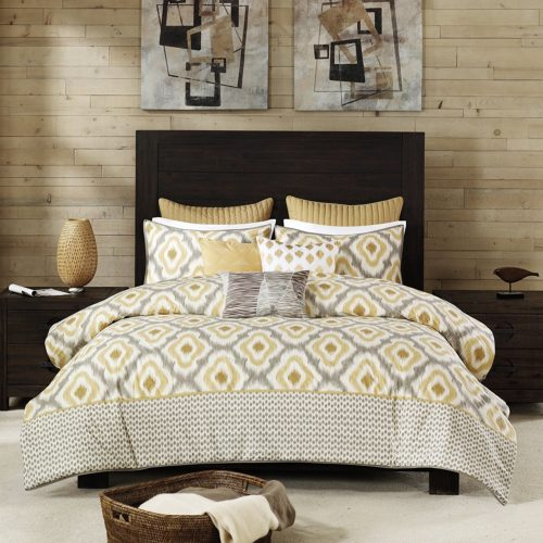 INK+IVY Ankara 200TC Duvet Cover Set, Full - Queen Yellow Bedding