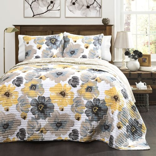 Lush Decor Leah Quilt 3 Piece Set, Full-Queen, Grey and Yellow Queen Bedding