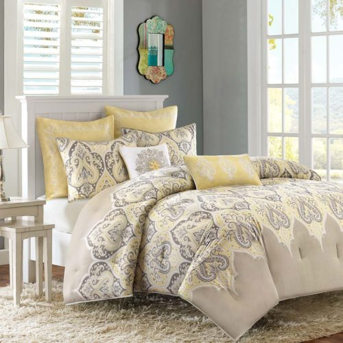 Madison Park MP10-1586 Nisha Comforter Set, Full-Queen Yellow Bedding
