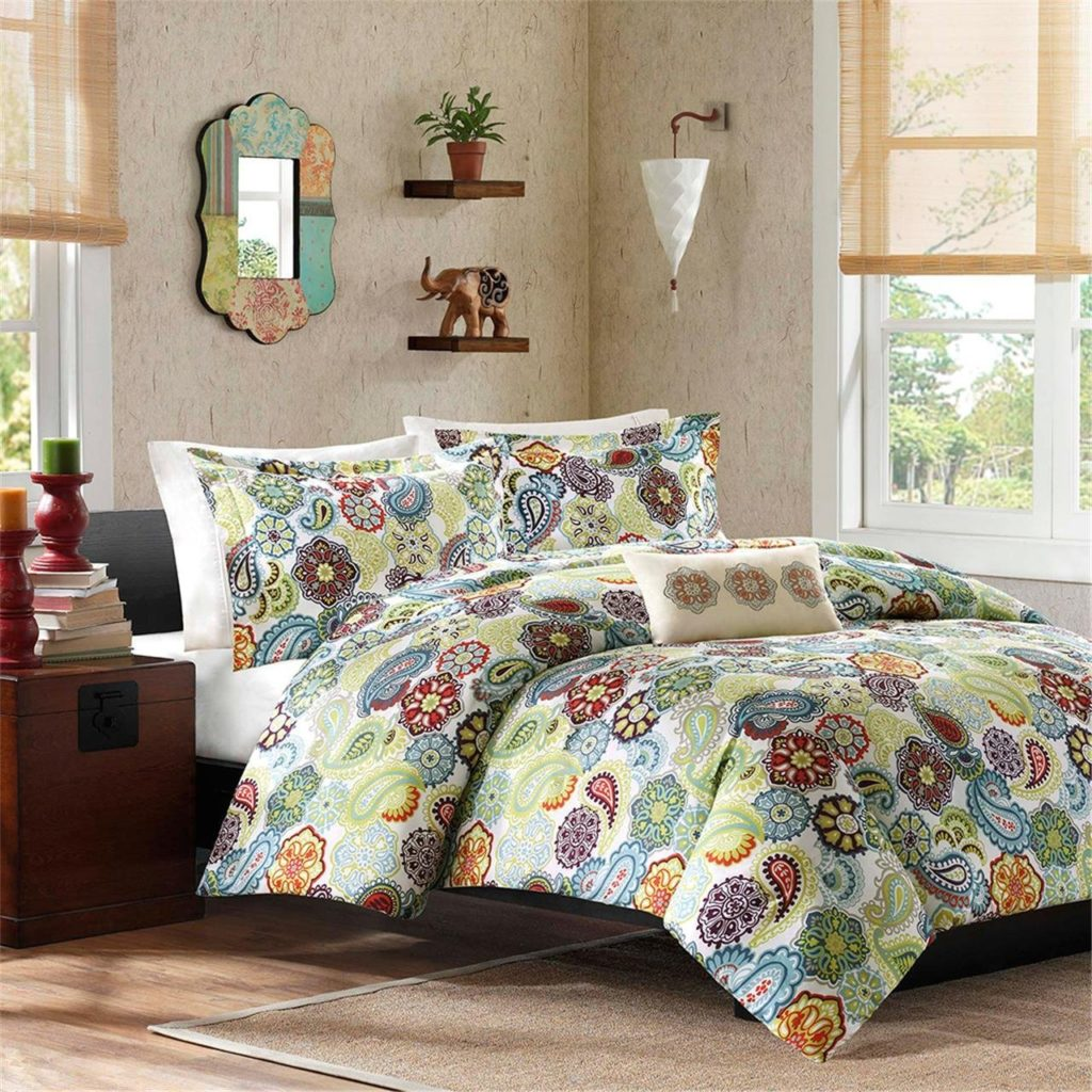 Mi-Zone Tamil Comforter Mini Set, King, Bohemian Style Bedding, Multi