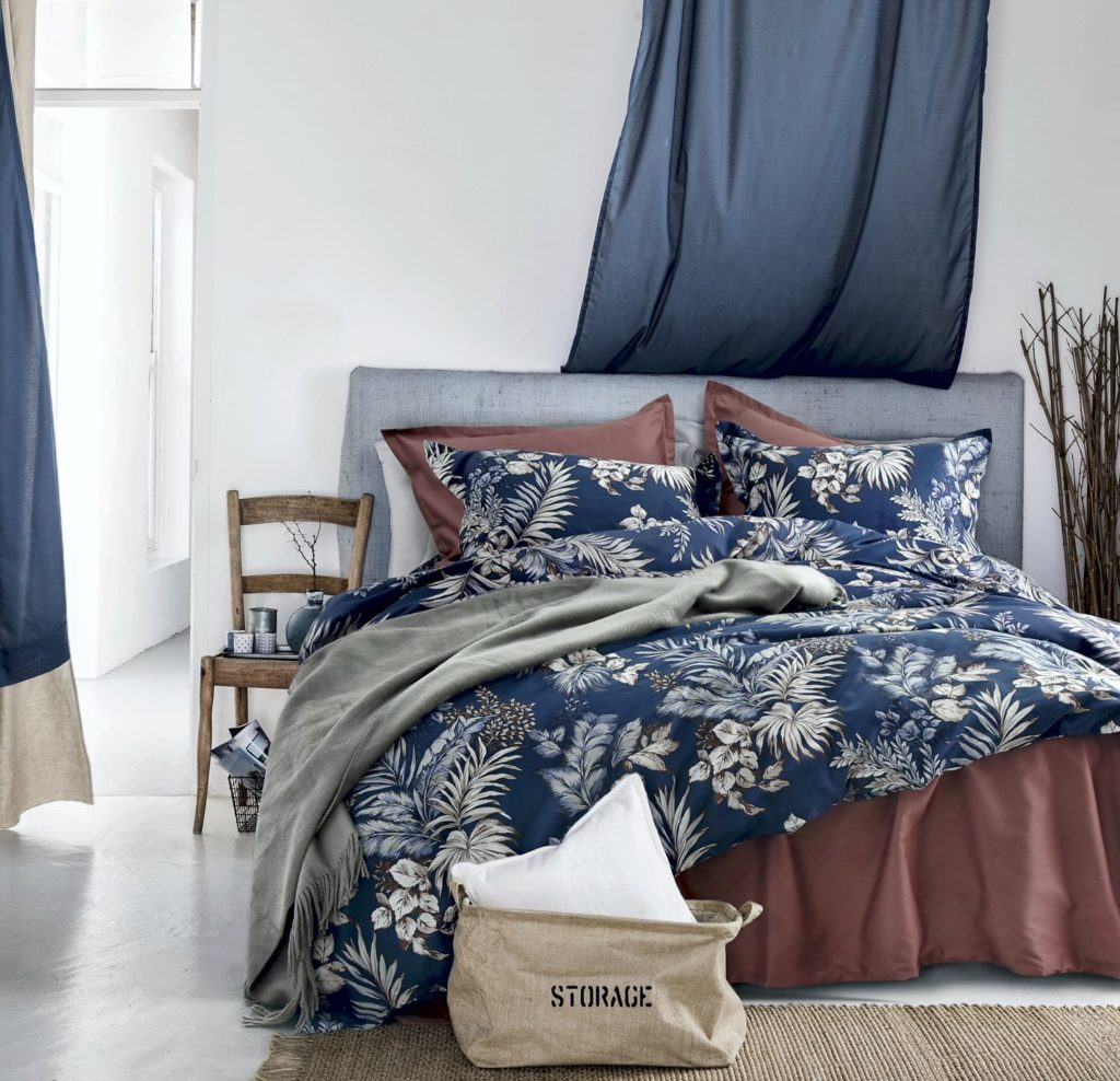 Midnight Blue Botanical Print Duvet Quilt Cover Egyptian Cotton Bedding Set Modern Luxury Minimal Palm Leaf Dark Navy Taupe Floral Watercolor Desig