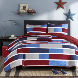 Mizone Bradley 4 Piece Quilt Set, Full-Queen, Navy - Red White and Blue Quilt Set