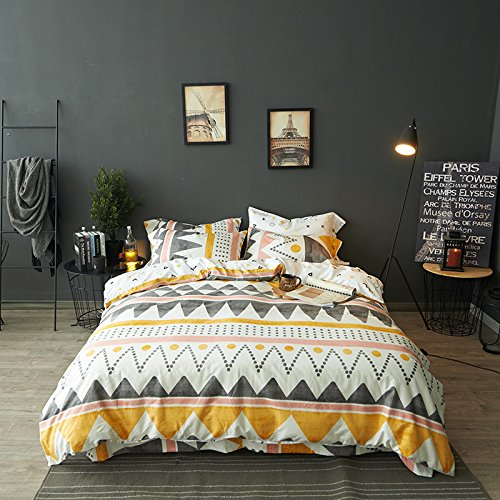Modern Boho Tribal Bedding Aztec Stripe Print Cotton Duvet Quilt Cover Set Native American, White Bohemian Urban Hippie Geometric Pattern