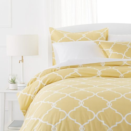 Pinzon Bedding 300-Thread-Count 100% Cotton Cool Percale Duvet Cover Set, Twin, Straw