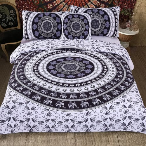 Sleepwish Black White King Duvet Cover Elephant Mandala Bedspread Boho Chic Bedding with Pillowcases