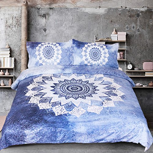 Sleepwish Vintage Floral Duvet Cover Bohemian Bedding Boho Blue Mandala Duvet Cover with 2 Pillow Cases Queen Size