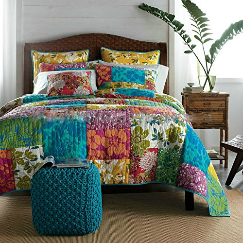 Tache 100% Cotton 3 Piece Colorful Flower Power Party Patchwork Quilt Set Boho Chic Quilt Bedding, Queen