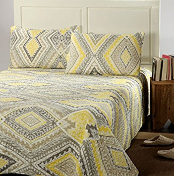 Tache Home Fashion KST1503-Queen 3 Piece Modern Yellow Summer Diamond Reversible Bedspread Quilt Set, Queen