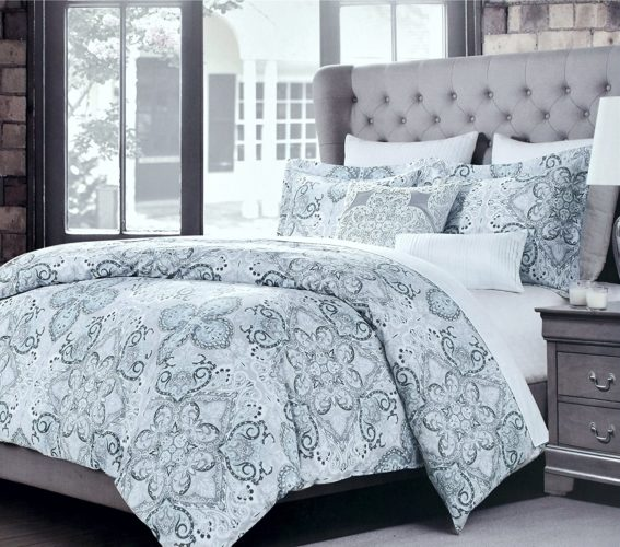 Boho Chic Bedding, Tahari Home Luxury Bohemian Duvet Cover Luxury Boho Chic Style Medallion Print in Blue Grey 3 Piece Bedding Set (Queen, Dusty Denim)