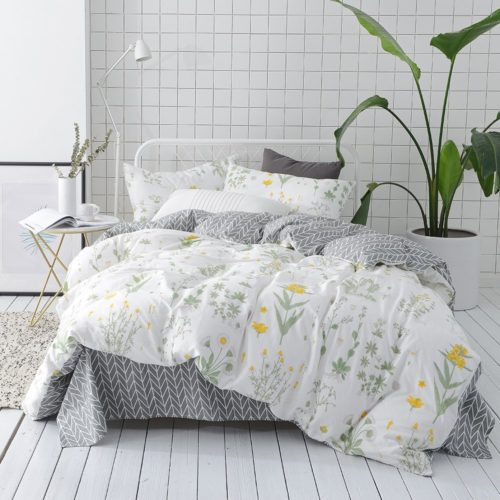 VClife Cotton Floral Bedding Sets, 3 PCS Queen Duvet Cover Sets, Reversible, Durable, Skin-friendly