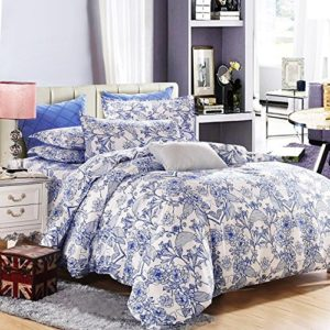 Vaulia Lightweight Microfiber Duvet Cover Set, Blue Floral Pattern Design - Queen Size