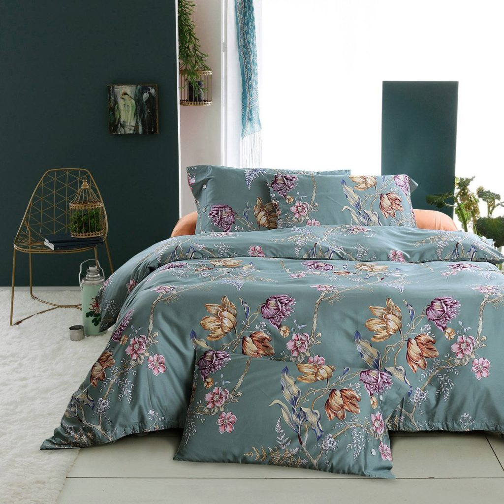 Vintage Botanical Flower Print Bedding 400tc Cotton Sateen Romantic Floral Scarf Duvet Cover 3pc Set Colorful Antique Drawing (Queen, Dusty Blue)