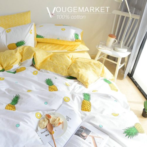 Vougemarket Cream-off white Duvet Cover with Pineapple Printed Pattern,3 Pieces Cotton Luxury Duvet Cover Set with zipper closure-King,Pineapple