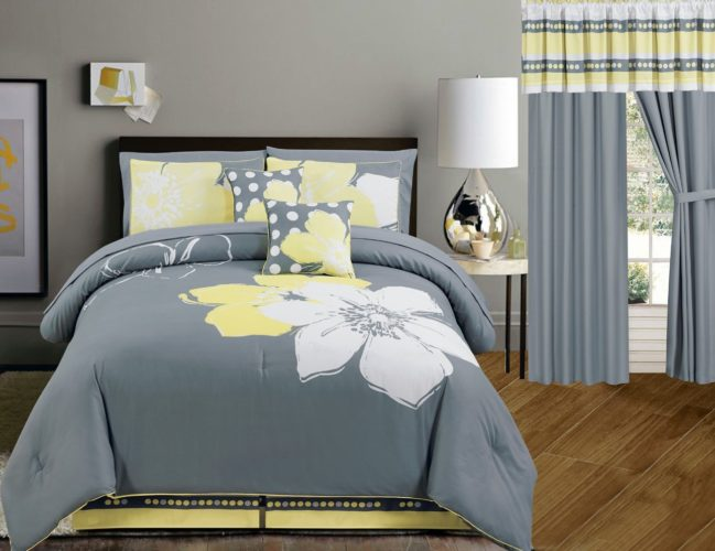 Yellow Grey White floral Bed-in-a-bag QUEEN Size Bedding + Sheets + Curtains + Accent Pillows Comforter set - grey and yellow queen bedding