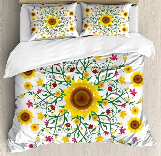 Yellow Mandala King Size Duvet Cover Set by Ambesonne, Round Motif with Wild Spring Blooms and Sunflowers Botanical Swirls Corsage 2 Pillow Shams - Yellow Floral Bedding