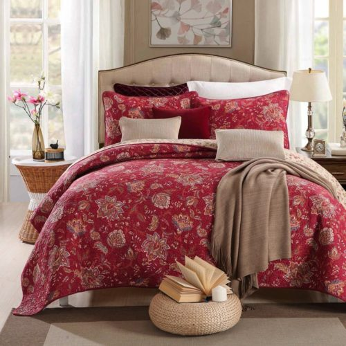 Burgundy Bedspreads - 100% Cotton 3-Piece Floral Reversible Burgundy Quilt Set(1 Quilt and 2 Shams) Bedspread Coverlet Set-King Size by mixinni