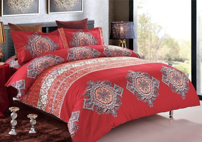 3pcs Bohemian Duvet Cover Set, Burgundy Boho chic Mandala Medallion Printed Soft Microfiber Bedding (King Size)