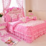 4-Piece Bedding Set 100% Cotton Embroidered Pastoral Floral Ruffle Lace Princess Duvet Cover Set Full - Victorian Bedding Collections