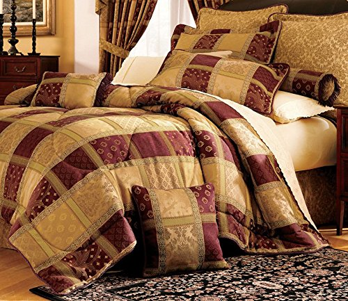 Burgundy Comforter Sets - 7 Piece Burgundy Jewel Patchwork Comforter Set King