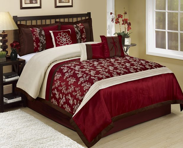 Burgundy Comforter Sets - 7 Piece CELIN Big Leaves Embroidered And Patchwork Comforter Set Queen King CalKing (King, Burgundy)