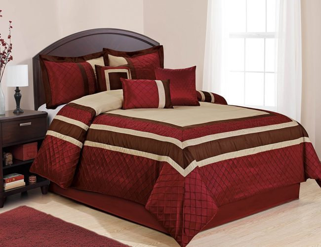 Burgundy Comforter Sets - 7 Piece MYA Red Bed in a Bag Comforter Sets- Queen King Cal. King Size (King)