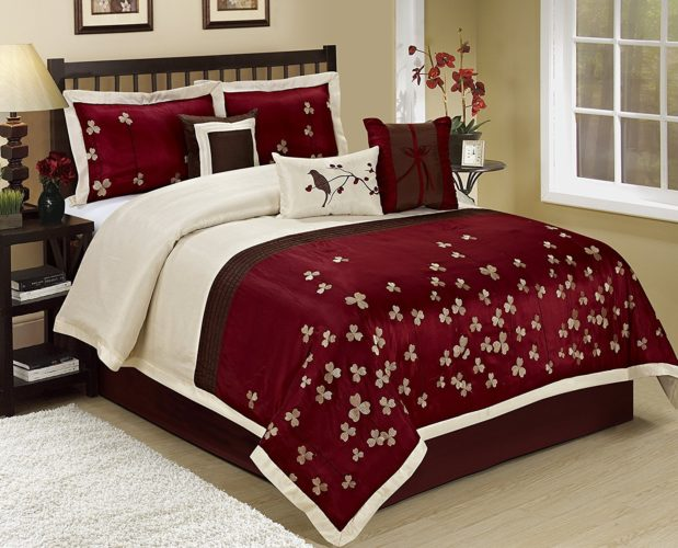 Burgundy Comforter Sets - 7 Piece Vienna Embroideried Comforter Set Queen King CalKing Size (Cal.King, Burgundy)