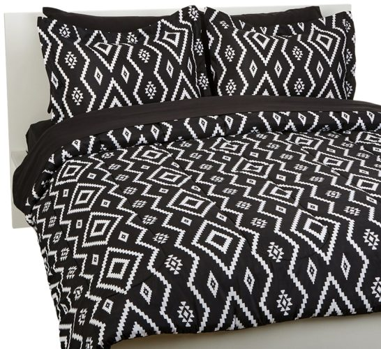 Elegant Black and White Bedroom Ideas - 7-Piece Bed-In-A-Bag - Full-Queen, Black Aztec