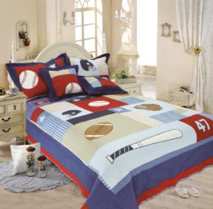 Auvoau Kids Quilt, Classic Sports Baseball American Football Quilt Set, Full 3pc - Red White and Blue Boys Bedding