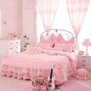 Auvoau Korean Rural Princess Bedding,Delicate Floral Print Lace Duvet Cover,Baby Girl Fancy Ruffle Wedding Bed Skirt,Princess Luxury Bedding Set 4PC (Twin, Pink) - Victorian Bedding Collections