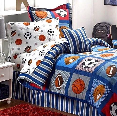 Red White and Blue Boys Bedding - BOYS SPORTS PATCH Football Basketball Soccer Balls Baseball Blue Comforter Set (TWIN SIZE 6pc Bed In A Bag)