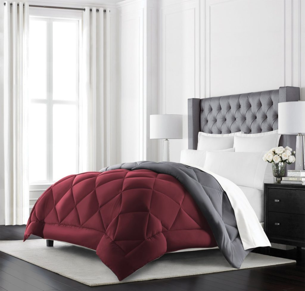 Burgundy Comforter Sets - Beckham Hotel Collection Goose Down Alternative Reversible Comforter - All Season - Premium Quality Luxury Hypoallergenic Comforter - King-Cal King - Burgundy-Grey