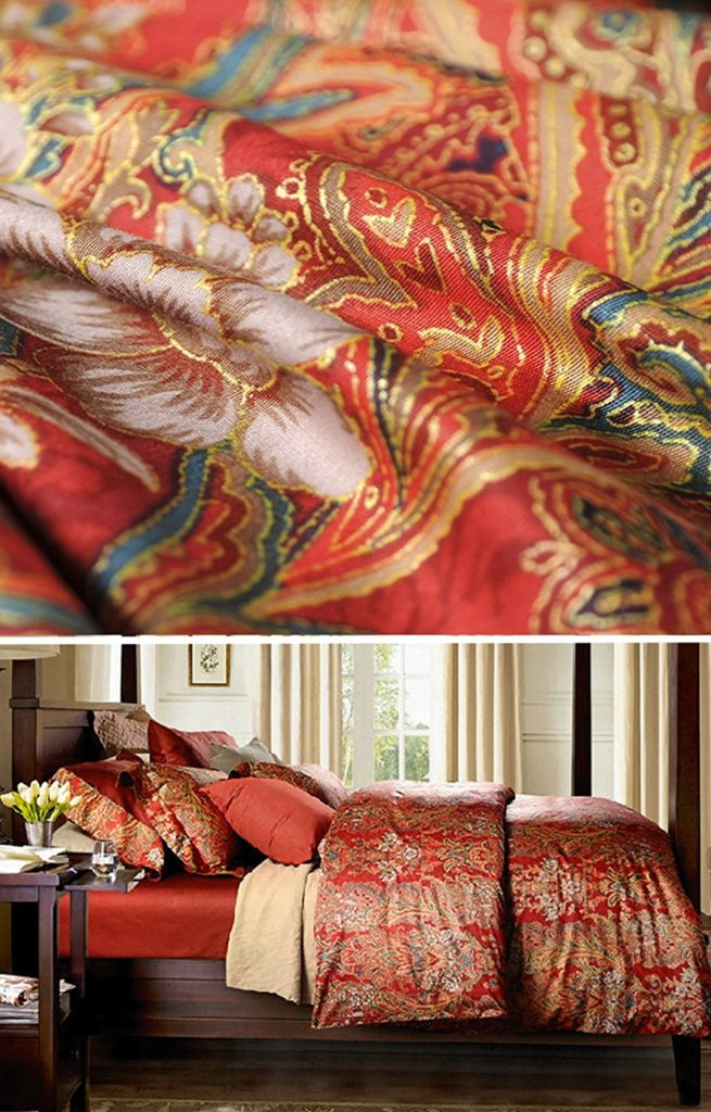 Boho Paisley Print Luxury Duvet Quilt Cover and Shams 3pc Bedding Set Bohemian Damask Medallion 350TC Egyptian Cotton Sateen (Queen, Gold Red)