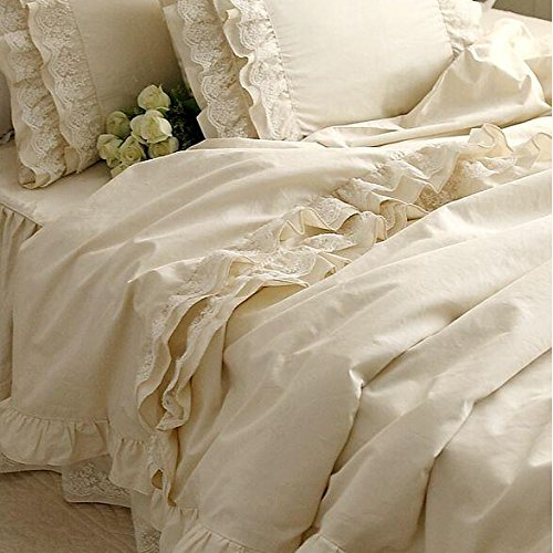 Brandream Girls Korean Ruffle Bedding Sets Romantic Ivory Duvet Covers Queen Size 4 Piece Sheets Set Luxury Satin Fabric - victorian bedding collections