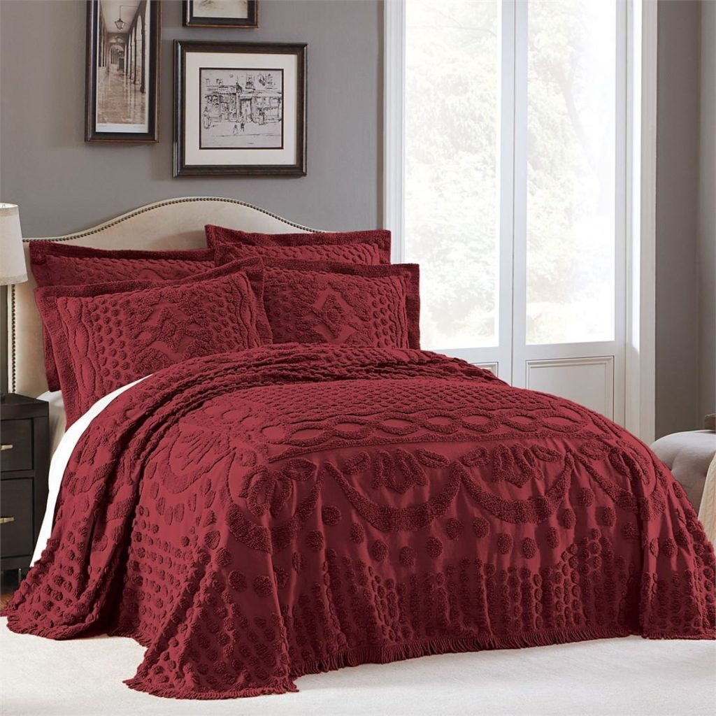 Burgundy Bedspreads - Brylanehome Georgia Cotton Throw Bedspread (Burgundy,Full)