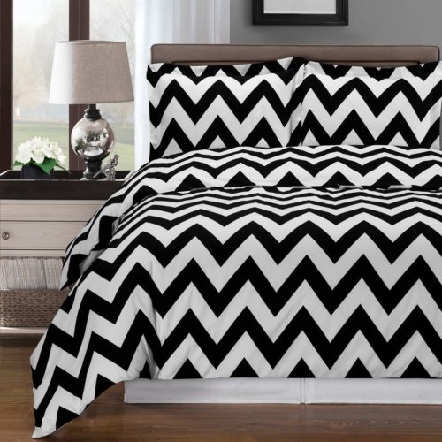Elegant Black and White Bedroom Ideas - black and white chevron bedding - Chevron Duvet Cover Set, King California King 3 Piece Set, Black White